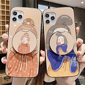 cheap iPhone Cases-Mirror Holder Tempered Glass Phone Case Cartoon Pattern for Apple iPhone Case 11 Pro Max X XR XS Max 8 Plus 7 Plus 6 Plus  SE(2020) Curve Back Cover