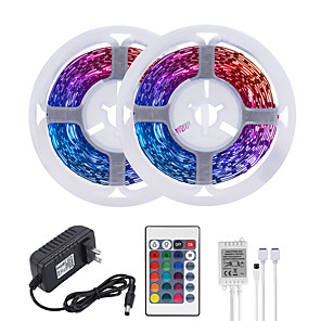 cheap Outdoor IP Network Cameras-MASHANG 32.8ft 10M LED Strip Lights RGB Tiktok Lights 600LEDs Flexible Color Change SMD 2835 with 24 Keys IR Remote Controller and 100-240V Adapter for Home Bedroom Kitchen TV Back Lights DIY Deco