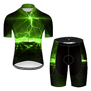 cheap Cycling Jerseys-21Grams Men's Short Sleeve Cycling Jersey with Shorts Nylon Polyester Black / Green 3D Lightning Gradient Bike Clothing Suit Breathable 3D Pad Quick Dry Ultraviolet Resistant Reflective Strips Sports