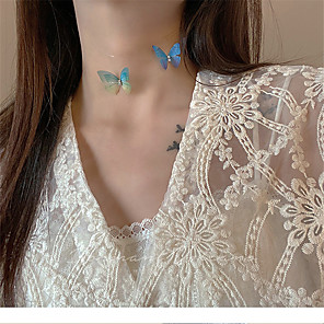 cheap Necklaces-Women's Choker Necklace Necklace Butterfly Dainty Artistic Trendy Fashion Fabric Blue Green 37 cm Necklace Jewelry For Prom Street Birthday Party Festival