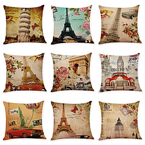 cheap Throw Pillow Covers-9 pcs Linen Pillow Cover Retro Architectural Landscape Linen Pillow Cases Car Pillow Cushions Sofa Pillows Office Nap Pillows