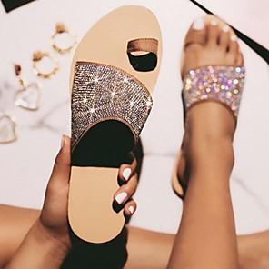 cheap Women's Sandals-Women's Slippers & Flip-Flops Summer Flat Heel Open Toe Daily PU Almond / Leopard / Black