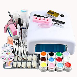 cheap Ballroom Dancewear-Nail Designs 2020 25 Pcs Nail Acrylic Set Kits 12 Colors UV gel 36W LED UV Nail Lamb/ Nail Dryer False Nail Basic Nail Art Tools for Beginner Nail salon In Stock