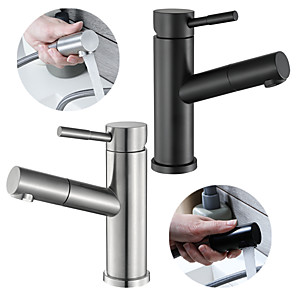 cheap Bathroom Sink Faucets-Bathroom Sink Faucet - Pull out Chrome Other Single Handle One HoleBath Taps