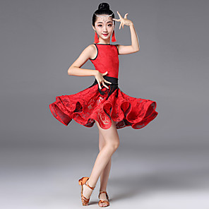 cheap Latin Dancewear-Latin Dance Dress Scattered Bead Floral Motif Style Lace Tassel Girls' Training Performance Sleeveless High Terylene