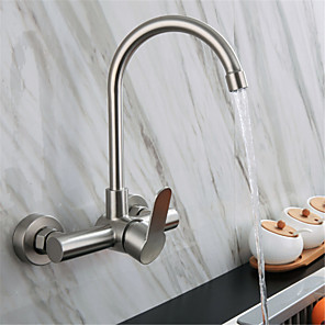 cheap Kitchen Faucets-304 Stainless steel double-hole wall-mounted hot and cold water faucet balcony laundry pool rotating hot and cold kitchen faucet