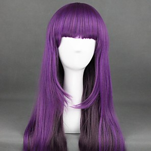 cheap Costume Wigs-Cosplay Wig Lolita Curly Cosplay Halloween With Bangs Wig Long Purple Synthetic Hair 25 inch Women's Anime Cosplay Best Quality Purple