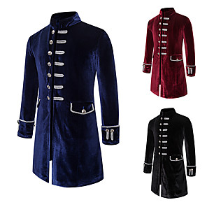 cheap Historical & Vintage Costumes-Plague Doctor Vintage Gothic Steampunk Masquerade Tuxedo Men's Costume Black / Red / Navy Blue Vintage Cosplay Event / Party Long Sleeve / Coat