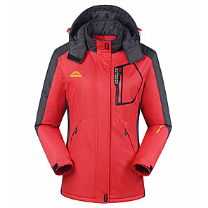 cheap Softshell, Fleece & Hiking Jackets-Women's Padded Hiking jacket Outdoor Patchwork Windproof Breathable Warm Comfortable Top Full Length Hidden Zipper Hunting Fishing Climbing Purple / Red / Fuchsia / Green / Blue