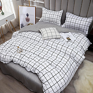 cheap Solid Duvet Covers-Gingham Plaid Geometric Checker Pattern Printed  Washed Cotton 4 Piece Duvet Cover Set