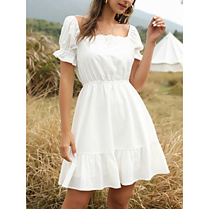 cheap Women's Heels-Women's Swing Dress Short Mini Dress - Short Sleeves Solid Color Summer Casual Going out 2020 White S M L XL