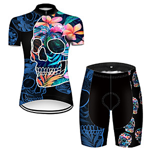 cheap Cycling Jersey & Shorts / Pants Sets-21Grams Women's Short Sleeve Cycling Jersey with Shorts Nylon Polyester Black / Blue 3D Skull Floral Botanical Bike Clothing Suit Breathable 3D Pad Quick Dry Ultraviolet Resistant Reflective Strips