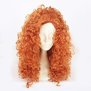 cheap Costume Wigs-Cosplay Costume Wig Cosplay Wig Princess Lolita Curly Cosplay Halloween Asymmetrical Wig Medium Length Orange Synthetic Hair 21 inch Women's Anime Fashionable Design Cosplay Orange