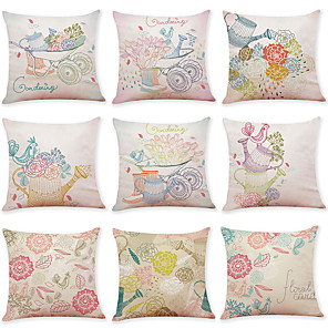 cheap Throw Pillow Covers-9 pcs Linen Pillow Cover, Animal Bird Casual Modern Square Traditional Classic