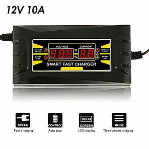 cheap Car Emergency Tools-12V 10A 110V-240V car battery charger smart charger for fast charging suitable for motorcycle LCD display auto parts