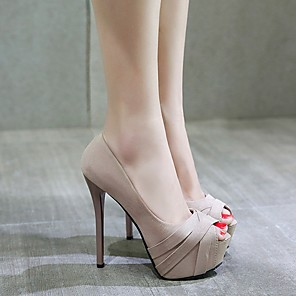 cheap Women's Heels-Women's Heels / Sandals Summer Stiletto Heel Open Toe Daily PU Almond / Black