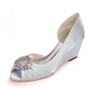 cheap Women's Heels-Women's Wedding Shoes Spring / Summer Wedge Heel Peep Toe Sweet Minimalism Wedding Party & Evening Rhinestone Solid Colored Satin White / Black / Purple