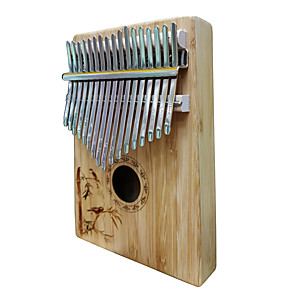cheap Amplifiers & Effects-Kalimba Finger Mbira Sanza Thumb Piano 17 Key Wooden Bamboo Portable Musical Instrument Best Gift for Kids and Beginners