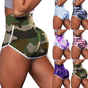 cheap Yoga Clothing-Women's High Waist Yoga Shorts Scrunch Butt Ruched Butt Lifting Shorts Tummy Control Butt Lift Breathable Camo / Camouflage Purple Light Purple Pink Nylon Yoga Fitness Running Sports Activewear High