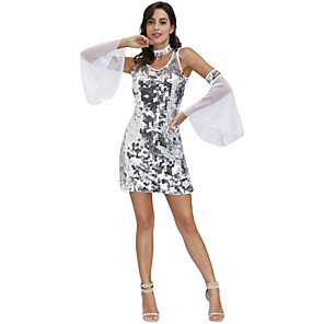 cheap Movie & TV Theme Costumes-Movie / TV Theme Costumes Dress Cosplay Costume Outfits Women's Movie Cosplay Sparkle & Shine White 1 Necklace Dress Sleeves Masquerade Polyester