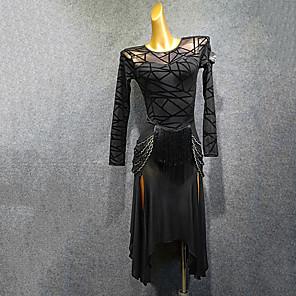 cheap Latin Dancewear-Latin Dance Dress Tassel Split Joint Women's Training Performance Long Sleeve Mesh Flocking