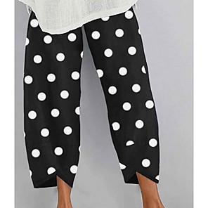 cheap Women's Heels-Women's Basic Loose Chinos Pants Polka Dot Black Green S M L