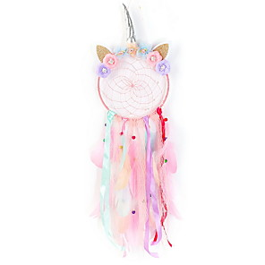 cheap Abstract Paintings-QtGirl Dream Catchers for Kids Unicorn Dream Catcher Feather Wall Décor for Girls Bedroom Flower Wall Hanging Decoration Flower Dream Catcher