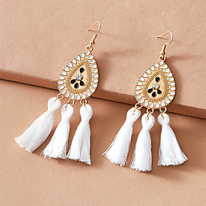 cheap Historical & Vintage Costumes-Women's Drop Earrings Earrings Pear Cut Fashion Simple Classic Vintage Fashion Boho Imitation Diamond Earrings Jewelry White For Party Evening Gift Street Beach Festival 1 Pair