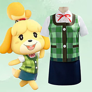 cheap Videogame Costumes-Inspired by Animal Crossing Cosplay Video Game Cosplay Costumes Cosplay Suits Patchwork Vest Shirt Skirt Costumes / Headwear