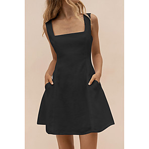 cheap Softshell, Fleece & Hiking Jackets-Women's A-Line Dress Knee Length Dress - Sleeveless Solid Color Summer Square Neck Chinoiserie Daily 2020 Black Yellow Beige S M L XL