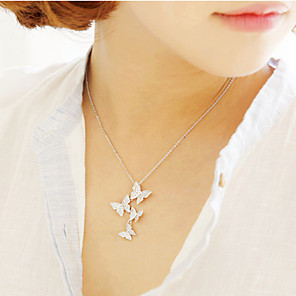 cheap Pearl Necklaces-Women's Pendant Necklace Necklace Butterfly Dainty Artistic Trendy Fashion Silver Silver 45 cm Necklace Jewelry For Street Birthday Party Beach Festival / Long Necklace