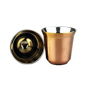 povoljno Aparati za kavu-80ml espresso šalica za kavu dvoslojna izolacijska čaša od nehrđajućeg čelika koja prima šalicu kapsule za kavu