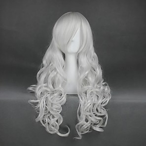 cheap Synthetic Trendy Wigs-Cosplay Costume Wig Cosplay Wig Rosiel Angel Sanctuary Curly Cosplay Halloween With Bangs Wig Long Silver Synthetic Hair 35 inch Women's Anime Cosplay Soft Silver