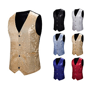 cheap Historical & Vintage Costumes-Plague Doctor Disco Masquerade Vest Waistcoat Men's Sequins Sequin Costume Golden / Black / Red Vintage Cosplay Event / Party Sleeveless