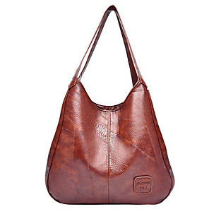 cheap Handbag & Totes-Women's Bags PU Leather Top Handle Bag for Daily Black / Red / Brown