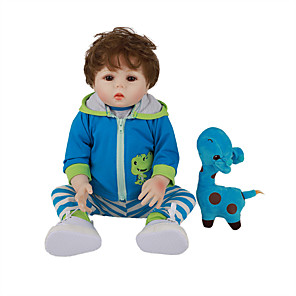cheap Reborn Doll-FeelWind 18 inch Reborn Doll Baby & Toddler Toy Reborn Toddler Doll Baby Boy Gift Cute Lovely Parent-Child Interaction Tipped and Sealed Nails Full Body Silicone with Clothes and Accessories for