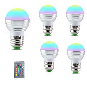 cheap LED String Lights-5pcs E27 E14 LED Bulb RGB Lamp 110V 220V 3W RGBW LED Light Bulb 16 Colors with IR Remote Control Bedroom Decor