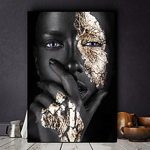 cheap Prints-African Art Black and Gold Woman Oil Painting on Canvas Cuadros Posters and Prints Scandinavian Wall Art Picture for Living Room