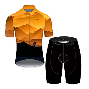 cheap Cycling Jersey & Shorts / Pants Sets-21Grams Men's Short Sleeve Cycling Jersey with Shorts Nylon Polyester Black / Yellow 3D Gradient Bike Clothing Suit Breathable 3D Pad Quick Dry Ultraviolet Resistant Reflective Strips Sports 3D