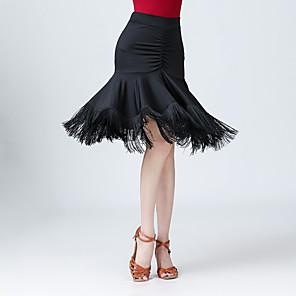 abordables Ropa para Baile Latino-Baile Latino Faldas Borla Mujer Entrenamiento Rendimiento Cintura Alta Fibra de Leche