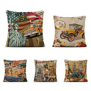 cheap Throw Pillow Covers-Set of 5 Linen Pillow Cover Holiday Modern Christmas Vintage Throw Pillow