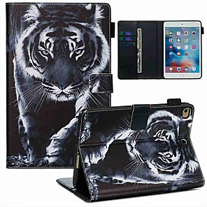 cheap iPad case-Case For Apple iPad Mini 3/2/1 / iPad Mini 4 / iPad Mini 5 Wallet / Card Holder / with Stand Full Body Cases Black and White Tiger PU Leather / TPU