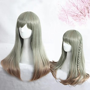 cheap Costume Wigs-Cosplay Wig Lolita Straight Cosplay Halloween With Bangs Wig Long Ombre Grey Synthetic Hair 23 inch Women's Anime Cosplay Color Gradient Gray
