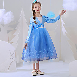 cheap Movie & TV Theme Costumes-Princess Elsa Dress Flower Girl Dress Girls' Movie Cosplay A-Line Slip Blue Dress Carnival Children's Day Masquerade Polyester