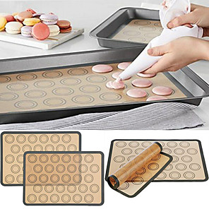 cheap novelty kitchen tools-Baking Mat Non Stick Silicone Dough Macaroon Tray Oven Baking Fondant Pastry Mould Sheet Mat Pad 1Pc 29.5X42CM