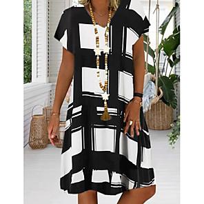 cheap Women's Heels-Women's Plus Size Sundress Knee Length Dress - Short Sleeve Geometric Print Summer V Neck Casual Vacation 2020 Black Red Royal Blue S M L XL XXL XXXL XXXXL XXXXXL
