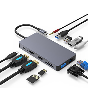 cheap USB Hubs & Switches-Updated Version USB C Hub POWLAKEN 12 in 1 USB C Adapter with Ethernet 4K USB C to HDMI VGA 2 USB3.0 2 USB2.0 PD SD TF Card Reader Audio Compatible Mac Pro and Other Type C Laptops