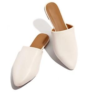 cheap Women's Sandals-Women's Clogs & Mules / Slippers & Flip-Flops Summer Flat Heel Pointed Toe Daily PU Leopard / White / Black