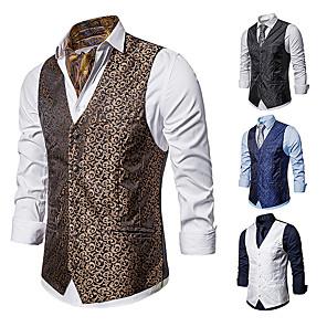 cheap Historical & Vintage Costumes-Gentleman Kingsman Vintage Masquerade Vest Waistcoat Men's Slim Fit Costume White / Black / Navy Blue Vintage Cosplay Event / Party Sleeveless