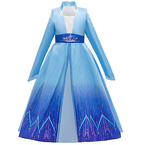 cheap Movie & TV Theme Costumes-Fairytale Dress Girls' Movie Cosplay Cosplay Princess Blue Dress Children's Day Polyester Cotton